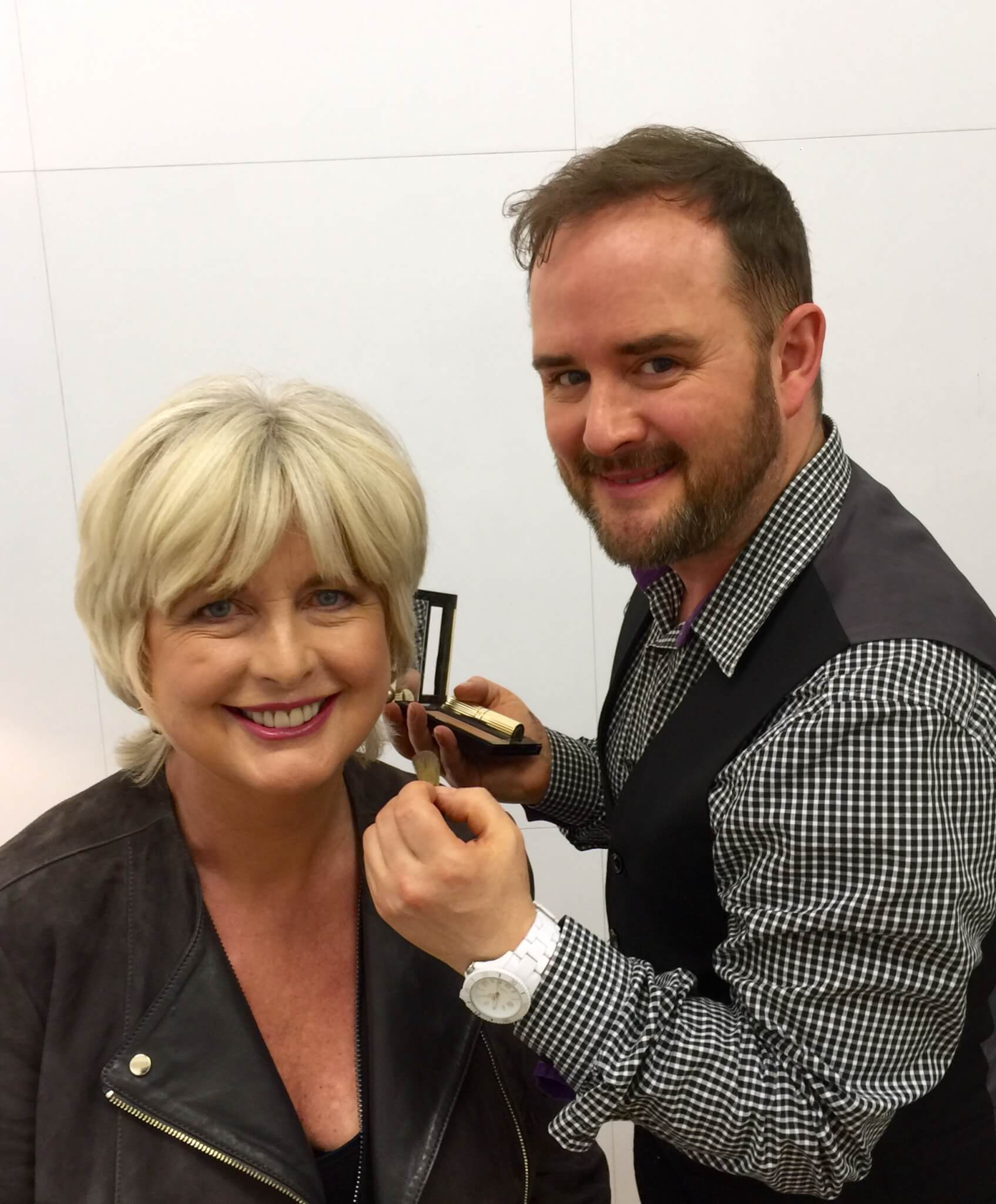 Alyn filming with Jane Felstead from Made in Chelsea